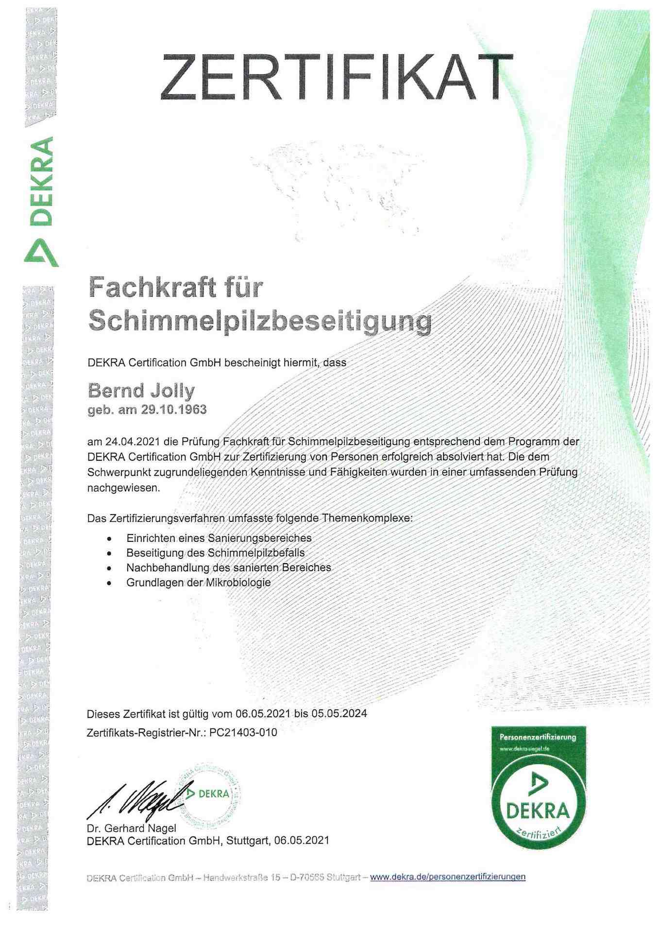 Zertifikat_Fachkraft für Schimmelpilzbeseitigung